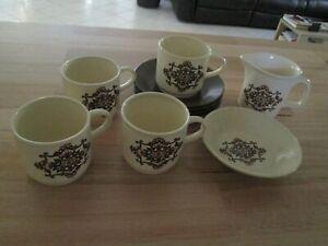 Set 4 Coffee Cups & Saucers , Creamer. Jam Bowl Vintage Australian Stoneware