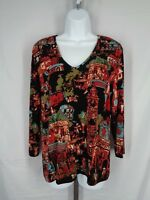 Chicos Travelers Top 1 (8) Medium Slinky Travel Knit Stretch Black Multi Color