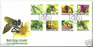 Singapore (FDC) 1985 - Definitive set of Insects Stamps up to 0.75cts (8v)