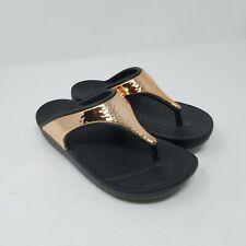 Crocs Women's Size 5 Sloane Hammered Metallic Rose Gold Flip Flop Sandals Black