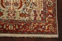 Geometric All-Over Ivory/Rust 5'x8' Heriz Oriental Area Rug Hand-Knotted Classic