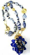 GAY ISBER Antique Blue & White Chinese Porcelain Gold Dipped Blue Leaf Necklace