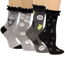 New Disney Women's Nightmare Before Christmas 4 Pack Set Crew Socks Lace Cuffs