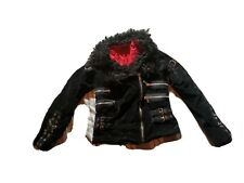 Tripp Coat Jacket xs Daang Goodman goth velvet coat zippers buckles fur pins hot