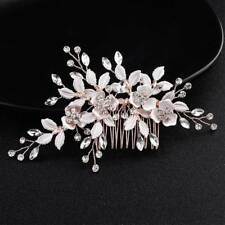 999d21f3611a Fashion Wedding Hair Comb Hairpins Crystal Handmade Flower Bridal Hair  Jewelry