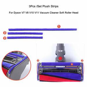 Set Of 3pc Plush Strips For Dyson V7 V8 V10 V11 Vacuum Cleaner Soft Roller Head