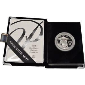 1998 W American Platinum Eagle Proof 1 oz $100 in OGP