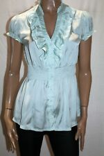 TEMT Brand Mint Silky Short Sleeve Shirred Waist Blouse Top Size 12 BNWT #SN92