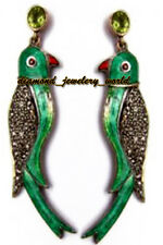 Studded Silver Parrot Earring Jewelry Victorian 1.17cts Rose Cut Diamond Peridot