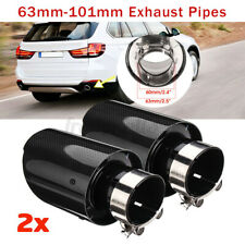 2x 2.5'' 63mm-101mm Universal Rear Tail Exhaust Pipe Trim Muffler End Tip Carbon