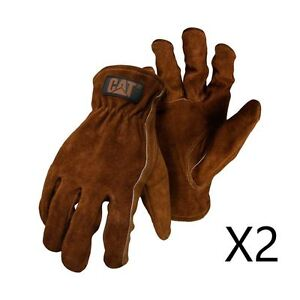 New Caterpillar CAT Men's Leather Suede Work Safety Glove Rigger 2 Pair Deal