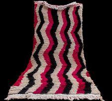Vintage Azilal Rug, Moroccan Rug, Hand knotted Berber Wool Rug Handmade 3x6 ft