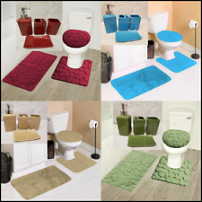 New 7Pc Bathroom Set Soft Bath Rugs Lid Cover W/Ceramic Accessories Solid