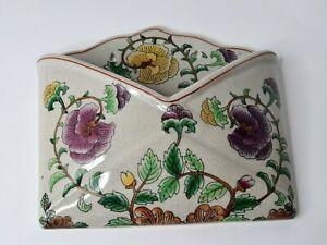 Ceramic Floral Flowers Envelope Shape Wall Pocket Mail Holder Home Decor