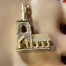 9ct gold new large church charm