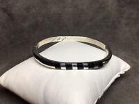 "VTG Taxco 925 Sterling Silver 5mm Black Onyx Oval Hinged Bangle Bracelet 7"" 29g"