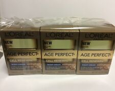 LOT OF 3 L'Oreal Age Perfect Cell Renewal Night Cream Moisturizer 0.5 Oz Each