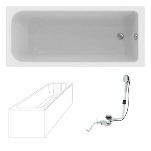 Acryl-Badewanne im Komplettset weiß 170 x 75 inklusive Wannenträger + Ablauf