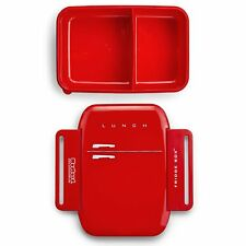 Mustard Red Fridge Shaped Novelty Lunch Box - Plastic Sectioned Children's Box