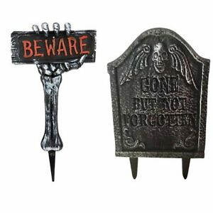 H2x Halloween Decoration props Tombstone & Beware Stake Spooky Outdoor Decor