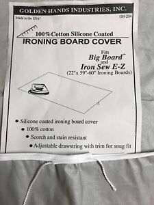 """IRONING BOARD COVER TO FIT A BIG BOARD 22"""" X 58-60"""" SILICONE COATED GOLDEN HANDS"""