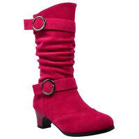 Kids Mid Calf Boots Double Buckle Zip Close High Heel Shoes Gray Fuchsia