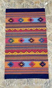 "24x41"" New Oaxacan Geometric Hand Woven Organic Dyed Wall Floor Tapestry Rug"