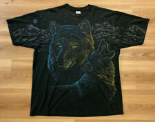 Vintage 90's Wolf Moon All Over Print Shirt Xl 50/50 Howling Mountains Usa