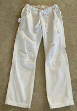Koi by Kathy Peterson Womens White Cargo Scrub Pants Adjustable Ankle Sz Xs