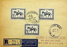 AUSTRIA 1947 HORSE RACE JOCKEY MOUNTAIN 10v ON REGD AIRMAIL CENSOR COVER TO USA