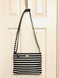 KATE SPADE Black White Striped Flatiron Nylon Cross Body Shoulder Bag Purse