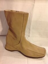 Fiore Leather Beige Ankle Suede Boots Size 6