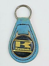 Vintage Kawasaki leather keychain keyring metal back Light Blue