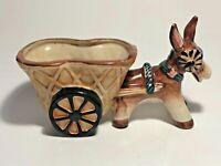 Awesome Vintage Porcelain Donkey & Cart Planter Japan See Pics, Make Offer!
