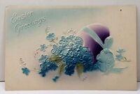 Easter Greetings Embossed Purple Egg Blue Flowers Postcard A13