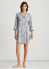 New Womens 100% Cotton Sleep Shirt Ralph Lauren Blue Print Size:  S