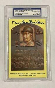 Duke Snider Signed Gold HOF Plaque Slabbed PSA/DNA Dodgers