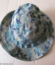 New USMC Woodland Digital Camo Boonie Hat Cap Green , EGA, Chin Strap SMALL
