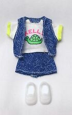 Barbie Kelly Doll Clothes Denim Skirt Vest Turtle Shirt + Shoes Cute n' Cool New