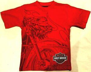 Kids Youth Boys Harley Davidson Heritage Motorcycle Softail Print Orange T-Shirt