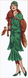 CROSS STITCH KIT - 1920'S LADY 14 COUNT 12CM X 35CM
