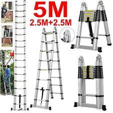 5M(16.FT) Multi-Purpose Folding Telescopic Aluminium A Frame Shape Ladder 150KG