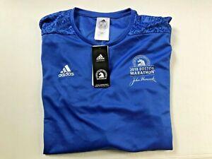 Adidas BAA Boston Marathon 2018 Town Names Running Mens L Long Sleeve Shirt NEW