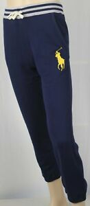 Polo Ralph Lauren Youth Navy Blue Fleece Sweatpants Big Yellow Pony NWT