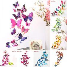 12X 3D Papillon Art Decal Stickers Autocollant Muraux Enfant Chambre Maison Déco