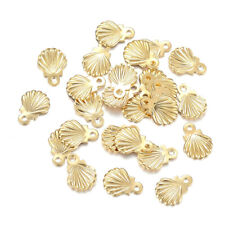 100 Gold Tone 304 Stainless Steel Shell Conch Charms Mini Dangle Pendants 7.5mm