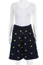 Endless Rose Womens Zip Up Beaded Sequin Flower A Line Skirt Blue Size Small