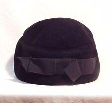 Reach Bloom Merrimac Body Velour Black 1930's Vintage Church Dress Hat EUC