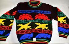 Vintage Dinosaurs Dino Sweater Kids Boys M JJ Poole Vtg 90s NWT New Retro 1990