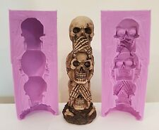3D TALL TOTEM SKULLS HALLOWEEN FOOD SAFE SILICONE MOULD FOR CHOCOLATE, CLAY ETC
